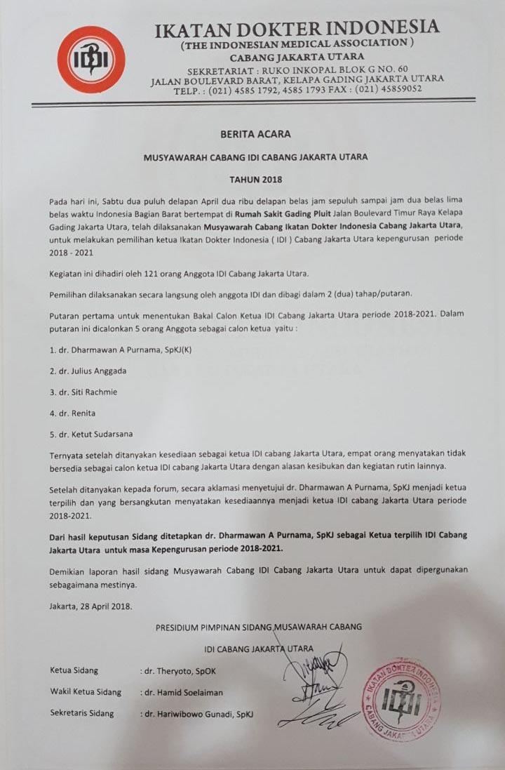 Berita Acara Musyawarah Cabang Idi Jakarta Utara 28 April
